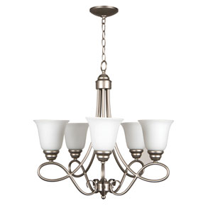Cordova Satin Nickel Five-Light Chandelier with White Frosted Glass Shade
