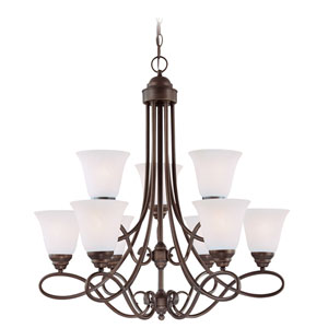 Cordova Old Bronze Nine-Light Chandelier with White Frosted Glass Shade