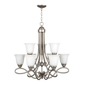 Cordova Satin Nickel Nine-Light Chandelier with White Frosted Glass Shade