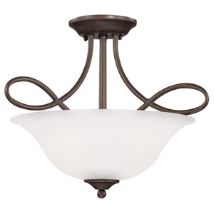 Cordova Old Bronze Three-Light Semi-Flush Mount with White Frosted Glass Shade
