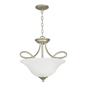 Cordova Satin Nickel Three-Light Semi-Flush Mount with White Frosted Glass Shade