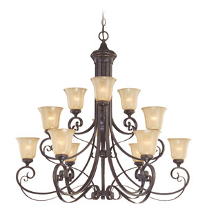 Stanton English Toffee 12 Light Chandelier