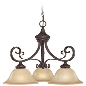 Stanton English Toffee Three Light Down Chandelier