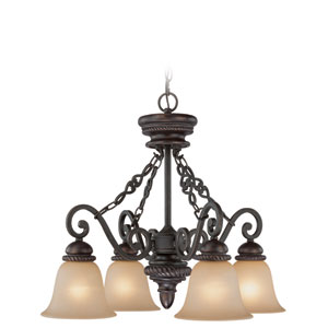 Highland Place Mocha Bronze Four Light Down Chandelier