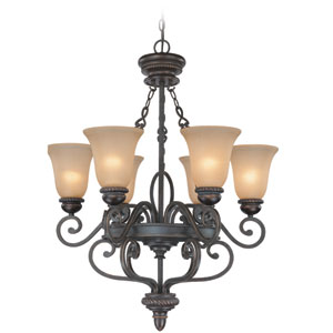 Highland Place Mocha Bronze Six Light Chandelier