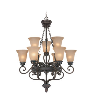 Highland Place Mocha Bronze Nine Light Chandelier