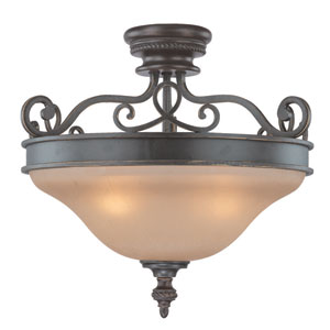 Highland Place Mocha Bronze Three Light Semi Flush