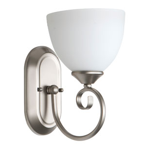 Raleigh Satin Nickel One-Light Bath Sconce with White Frosted Glass Shade
