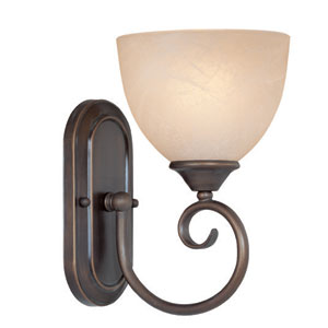 Raleigh Old Bronze and Beige Six-inch One-Light Wall Sconce