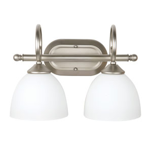 Raleigh Satin Nickel Two-Light Vanity with White Frosted Glass Shade