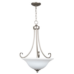 Raleigh Satin Nickel Three-Light Pendant with White Frosted Glass Shade