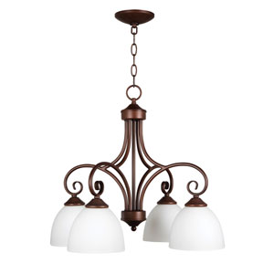 Raleigh Old Bronze Four-Light Chandelier with White Frosted Glass Shade