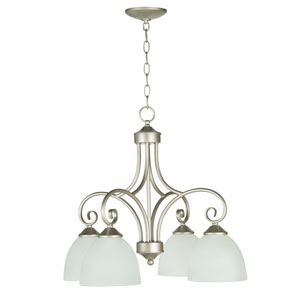 Raleigh Satin Nickel Four-Light Chandelier with White Frosted Glass Shade