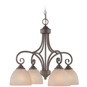 Raleigh Old Bronze 22-Inch Four-Light Down Chandelier