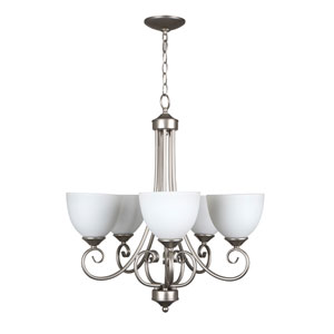 Raleigh Satin Nickel Five-Light Chandelier with White Frosted Glass Shade
