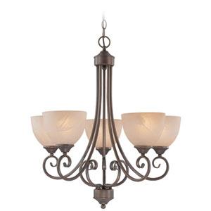 Raleigh Old Bronze Five Light Chandelier