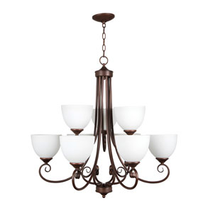 Raleigh Old Bronze Nine-Light Chandelier with White Frosted Glass Shade