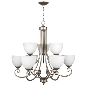 Raleigh Satin Nickel Nine-Light Chandelier with White Frosted Glass Shade