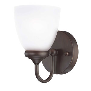 Spencer Bronze One-Light Bath Sconce with White Frosted Glass Shade