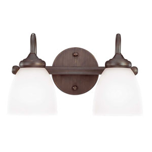 Spencer Bronze Two-Light Vanity with White Frosted Glass Shade
