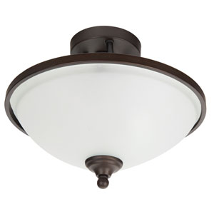Spencer Bronze Two-Light Semi-Flush Mount with White Frosted Glass Shade