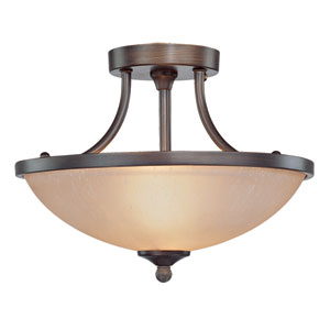 Spencer Bronze Two Light Semi Flush
