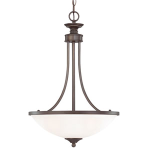 Spencer Bronze Three-Light Pendant with White Frosted Glass Shade
