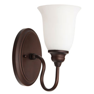 Linden Lane Old Bronze One-Light Bath Sconce with White Frosted Glass Shade