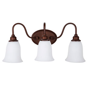 Linden Lane Old Bronze Three-Light Vanity with White Frosted Glass Shade
