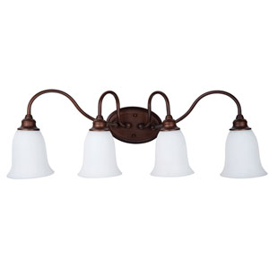 Linden Lane Old Bronze Four-Light Vanity with White Frosted Glass Shade