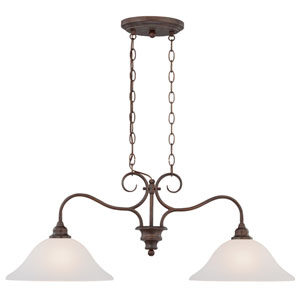 Linden Lane Old Bronze Two-Light Island Pendant with White Frosted Glass Shade