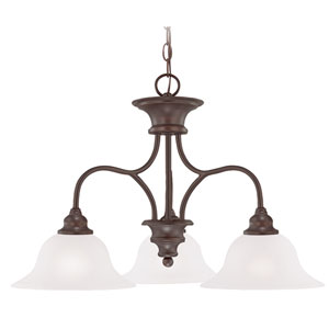 Linden Lane Old Bronze Three-Light 25-Inch Chandelier with White Frosted Glass Shade