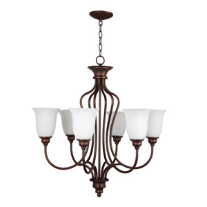 Linden Lane Old Bronze Six-Light Chandelier with White Frosted Glass Shade