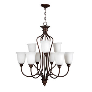 Linden Lane Old Bronze Nine-Light Chandelier with White Frosted Glass Shade