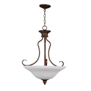 Linden Lane Old Bronze Three-Light Pendant with White Frosted Glass Shade