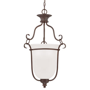Linden Lane Old Bronze Three-Light 18-Inch Chandelier with White Frosted Glass Shade
