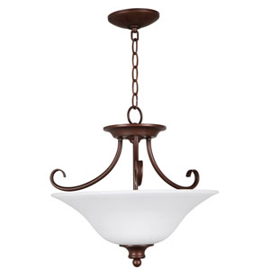 Linden Lane Old Bronze Three-Light Semi-Flush Mount with White Frosted Glass Shade