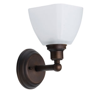 Bradley Bronze One-Light Bath Sconce with White Frosted Glass Shade