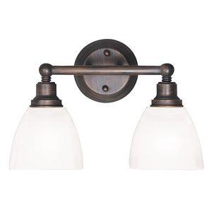 Bradley Bronze Two-Light Vanity with White Frosted Glass Shade