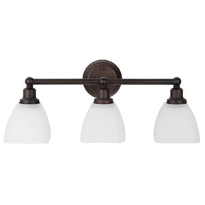 Bradley Bronze Three-Light Vanity with White Frosted Glass Shade