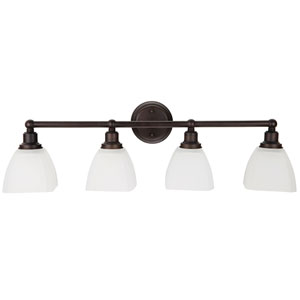 Bradley Bronze Four-Light Vanity with White Frosted Glass Shade