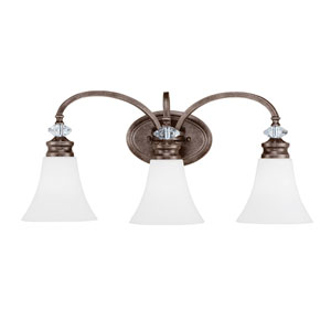 Boulevard Mocha Bronze Three-Light Vanity with White Frosted Glass Shade