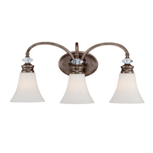 Boulevard Mocha Bronze and Silver Accent 24-Inch Three-Light Vanity Wall Light