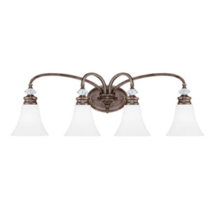 Boulevard Mocha Bronze Four-Light Vanity with White Frosted Glass Shade