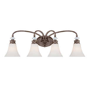Boulevard Mocha Bronze and Silver Accent Four-Light Vanity Light
