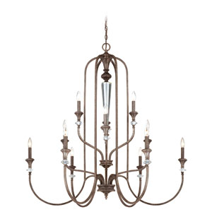 Boulevard Mocha Bronze and Silver Accent 12-Light Chandelier
