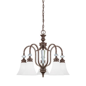 Boulevard Mocha Bronze and Silver Accent Five-Light Down Chandelier