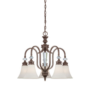 Boulevard Mocha Bronze and Silver Accent 25-Inch Five-Light Down Chandelier