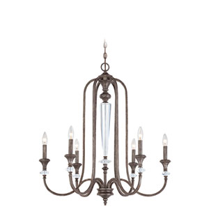 Boulevard Mocha Bronze and Silver Accent Six-Light Chandelier