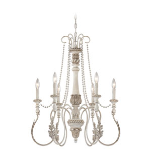 Zoe Antique Linen Six Light Chandelier